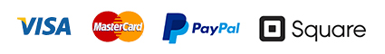 We accept: Visa, Mastercard, PayPal and Square